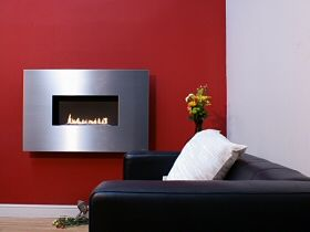 flueless gas fire with stainless fascia