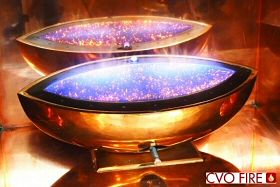 bronze fireplace, bronze gas fire, bronze fire, hand polished bronze firebowl