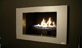 Cast Slit Contemporary Hole In The Wall Gas Fire With