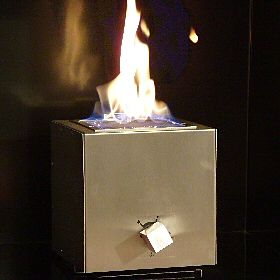 stainless steel gas cube fireplace