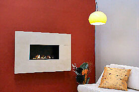 Flueless gas fire with polished interior