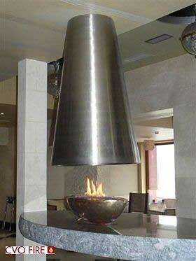 table fire with gas firebowl and cone canopy