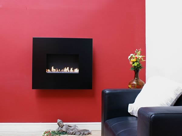 Angel black widescreen flueless hang on the wall fireplace