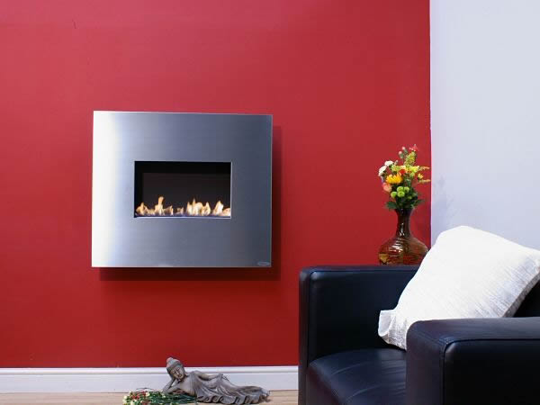 Stainless steel standard angel flueless fire hang on the wall style