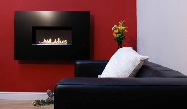 ANGEL- Flueless Gas Fire with Widescreen Black Satin Finish. No Chimney, Flueless Fire, Flueless Fireplace, Living Flame.