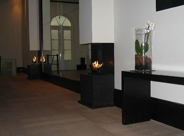 contemporary fire design with cast slit gas fires raised on plinths