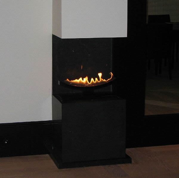 close up cast slit gas contemporary fire