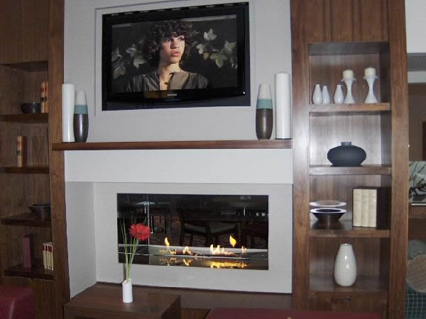 double sided fire ribbon gas fireplacewith limestone fascia