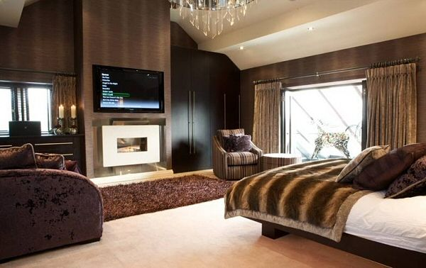 Recessed Flueless Gas Fire - Classico - Widescreen - Limestone with TV above