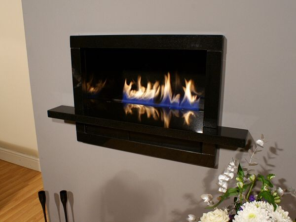 BORDINO Black Granite Hole In The Wall Fireplace Ribbon
