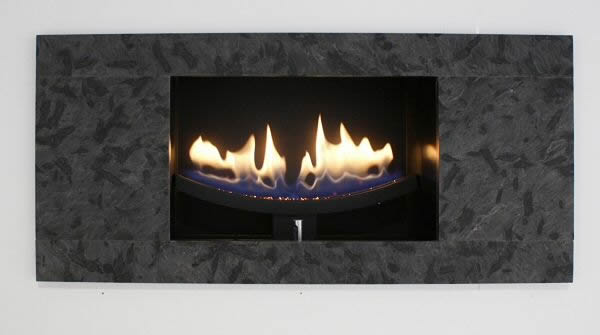 cast slit modern gas fire white stone fascia
