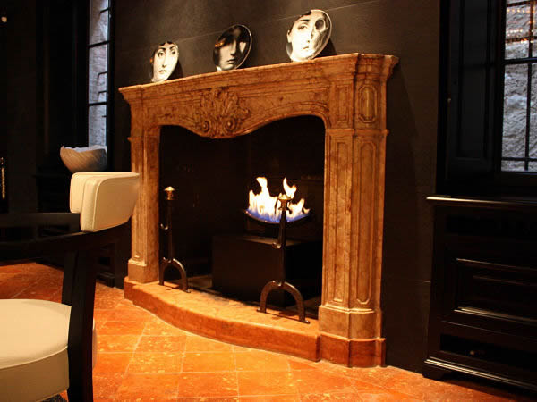 traditional gas fireplace with cast slit fire