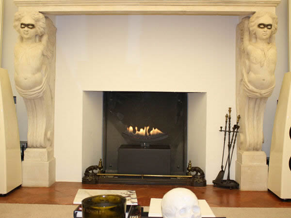 black cast slit open floating effect gas fireplace