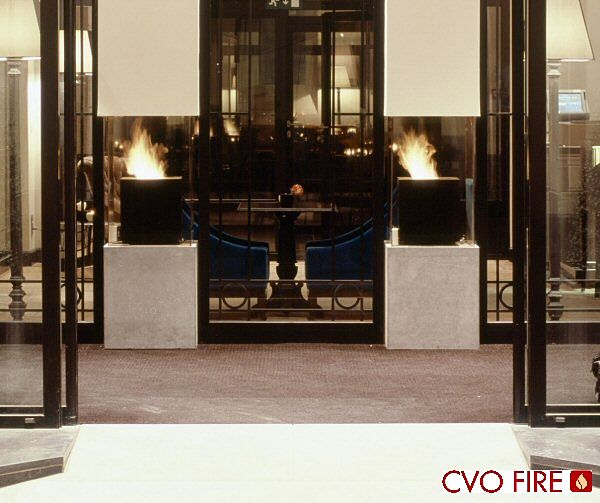 ddominican hotel cube contemporary gas fireplaces in black metal