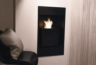 contemporary cube fireplace in black metal