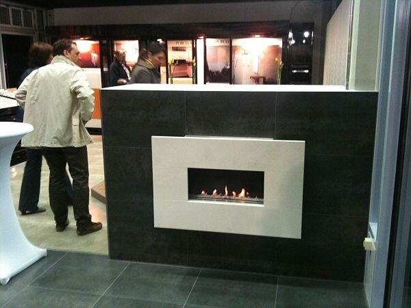wall mounted flueless fire with limestone fascia