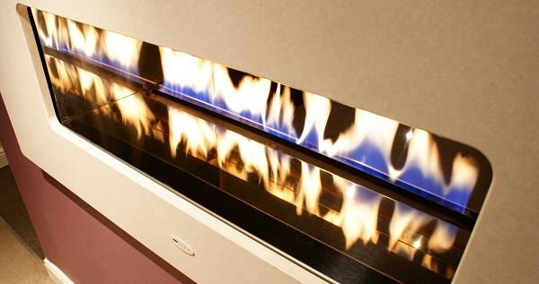 double sided fire ribbon with black 1 poece solid granite fascia