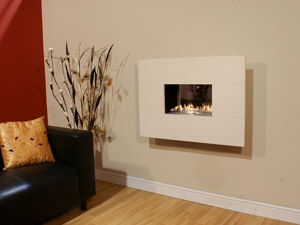 SILVER TRAVERTINE flueless gas fire