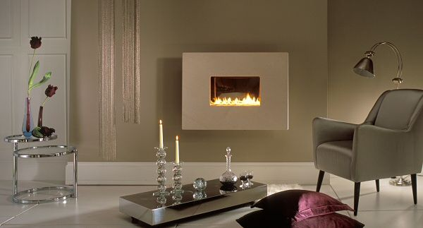 hang on the wall fireline flueless gas fire - 4 pc black granite