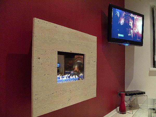 TRAVERTINE flueless fireline hang on the wall gas fire