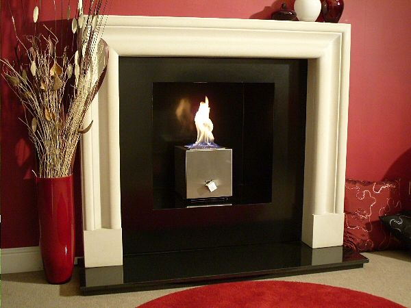 geometrix cube fireplace in traditional setting