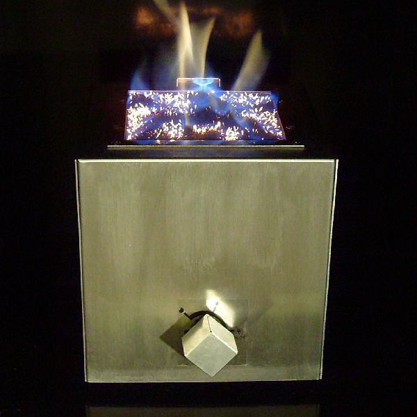 close up geometrix stainless steel fireplace with ceramat technology