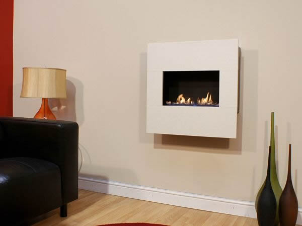 Flueless Hang On The Wall Fire With Stone Surround