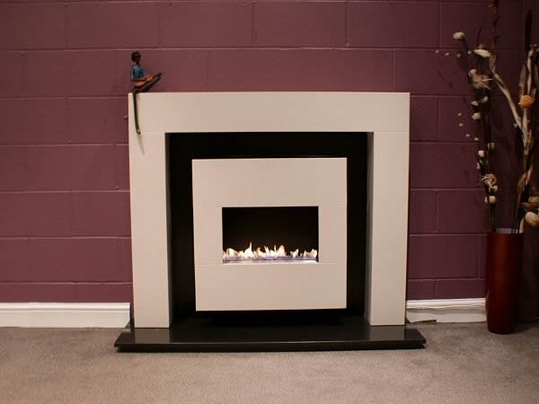 kiah flueless traditional fireplace suite with cream stone fire and surround