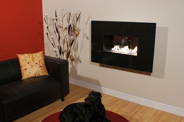 Widescreen flueless fire hang on the wall style highly polished interior and steel fascia