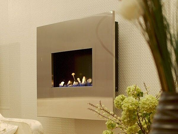 lucent bio-ethanol fire black satin interior and steel fascia