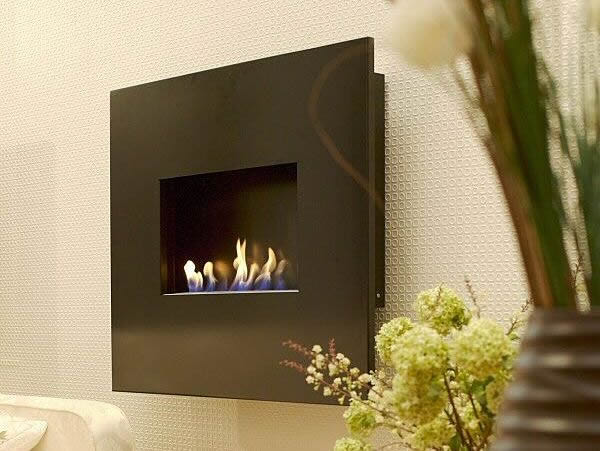 hang on the wall flueless gel fire with black interior and fascia