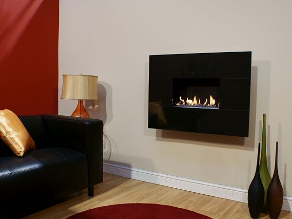 MODERNO STANDARD, 4pc African Black Granite, Flueless Gas Fire, Wall Mounted, Wall Hung Fireplace, Open Living Flame.