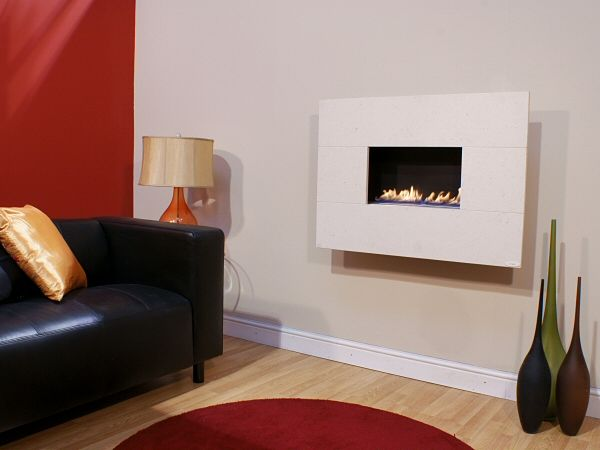 MODERNO STANDARD, 4pc Portuguese Limestone, Flueless Gas Fire, Wall Mounted, Wall Hung Fireplace, Open Living Flame.