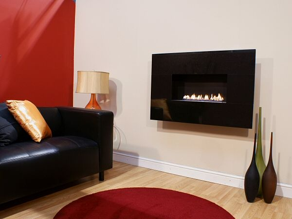 MODERNO WIDESCREEN, 4pc African Black Granite, Flueless Gas Fire, Wall Mounted, Wall Hung Fireplace, Open Living Flame.