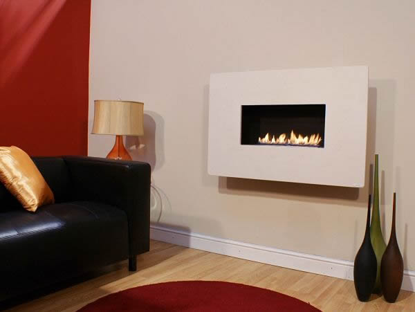 MODERNO WIDESCREEN, 1pc Portuguese Limestone, Flueless Gas Fire, Wall Mounted, Wall Hung Fireplace, Open Living Flame.