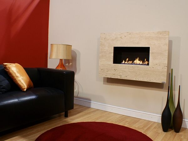 MODERNO - WIDESCREEN, 1pc Creme Unfilled Travertine, Flueless Gas Fire, Wall Mounted, Wall Hung Fireplace, Open Living Flame.