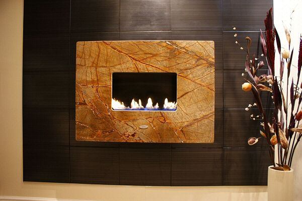 MODERNO STANDARD, 1pc Rainforest Brown, Flueless Gas Fire, Wall Mounted, Wall Hung Fireplace, Open Living Flame.