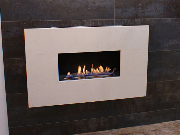MODERNO WIDESCREEN, 4pc Portuguese Limestone, Flueless Gas Fire, Wall Mounted, Wall Hung Fireplace, Open Living Flame.