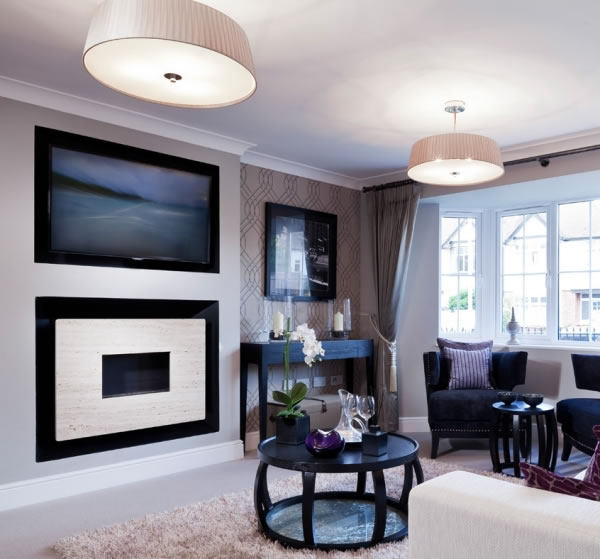 white RECESSED FIRE with white backing plate and black interior
