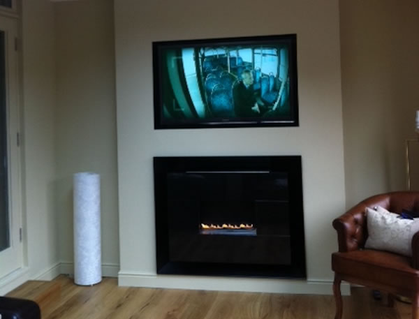 flueless gas fire with TV