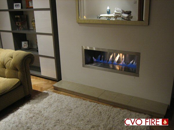 river fire stainless steel interior and trim with ribbon flame
