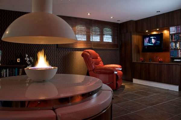 white table suite gas fire and ceramat burner round firebowl