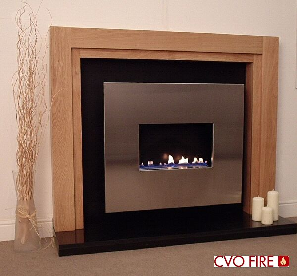 flueless traditional gas fire with wood surround