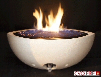 white coloured stone firebowl