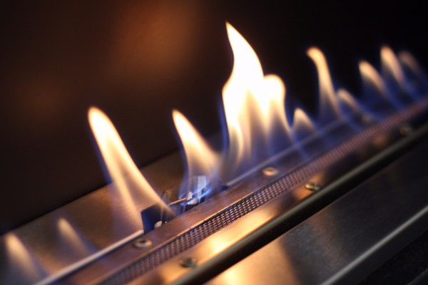 Flueless Gas Fire Burner Close Up