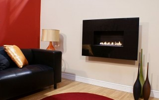 Moderno Flueless Gas Fire With Black Granite Fascia