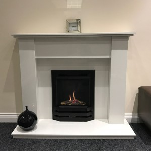 Inset Gas Fire In Surround With Hearth
