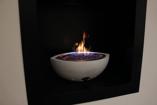 CVO Gas Fire Bowl In A Black Enclosure