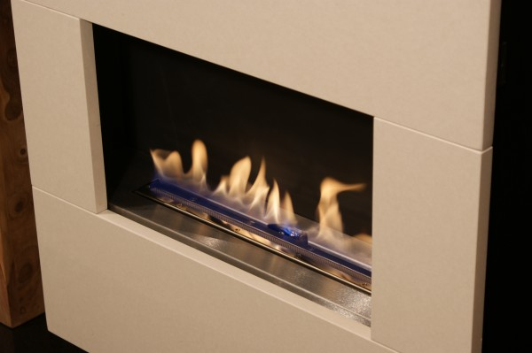 Traditional Flueless Gas Fire Close Up Of Burner
