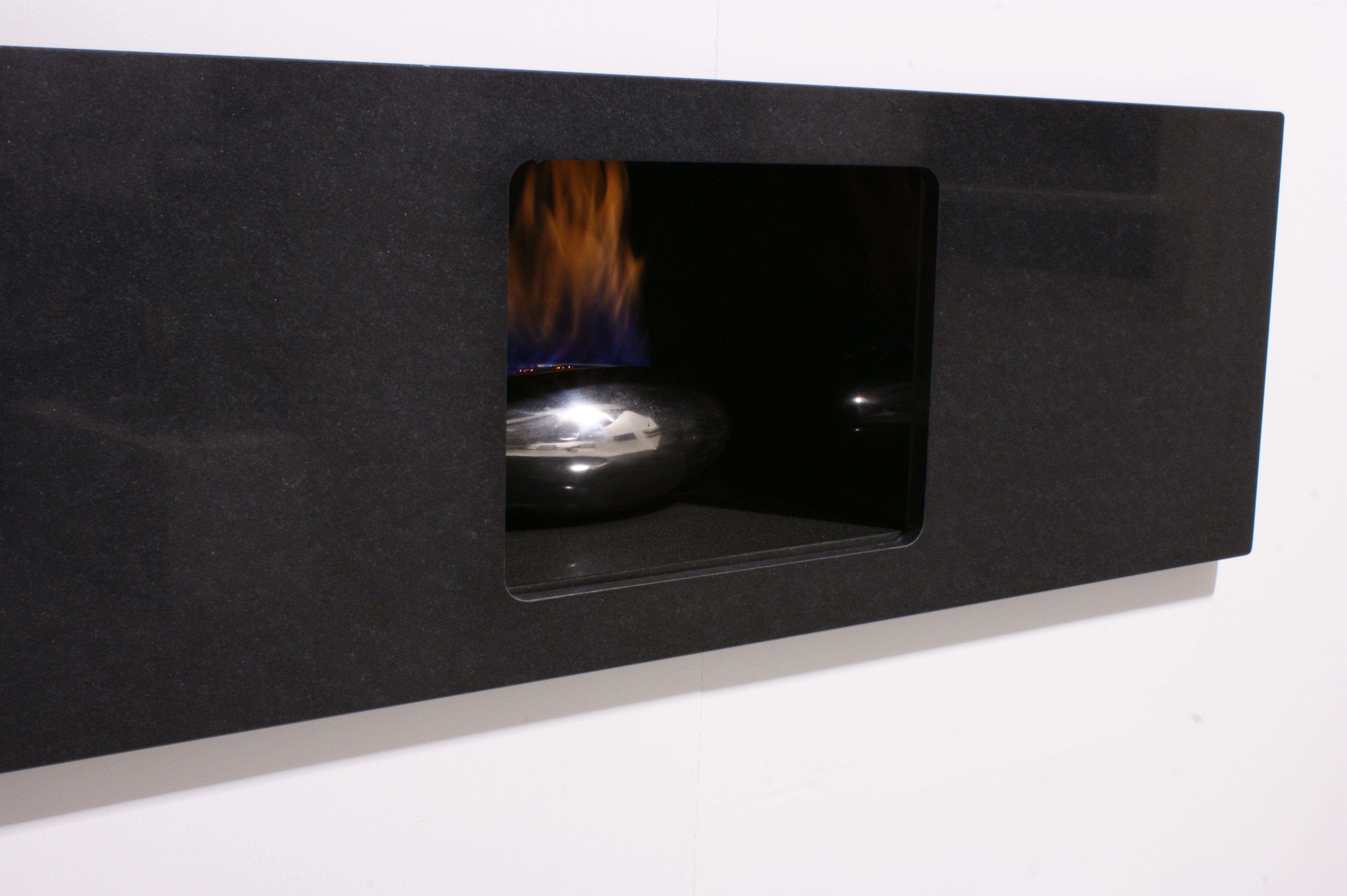 Vessel Hole In The Wall Gas Fire In Black Granite Enclosure